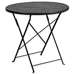 Flash Furniture Indoor/Outdoor Folding Patio Table in Black