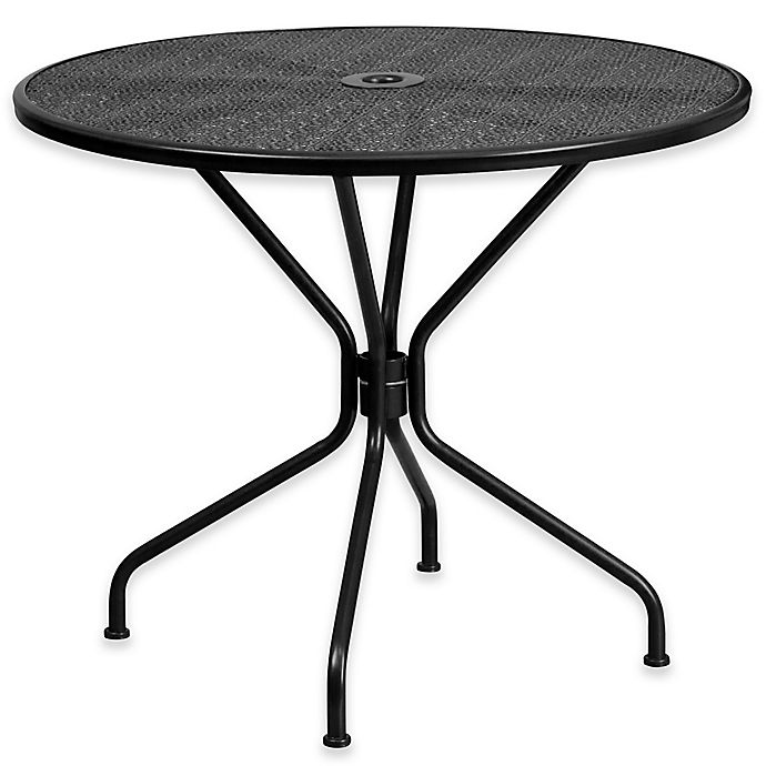 Alternate image 1 for Flash Furniture Steel Indoor/Outdoor 35.25-Inch Round Dining Table in Black