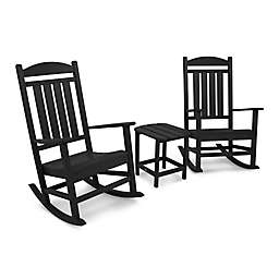 POLYWOOD® 3-Piece Presidential Rocker Set in Black