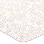 Sweet Jojo Designs Amelia Damask Fitted Crib Sheet in Pink/White