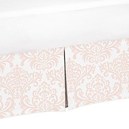 Sweet Jojo Designs Amelia Damask Crib Skirt in Pink/White