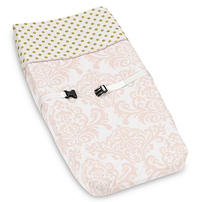 Alternate image 1 for Sweet Jojo Designs Amelia Changing Pad Cover in Pink/White