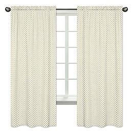 Sweet Jojo Designs Amelia 84-Inch Polka Dot Window Panels in Gold/White (Set of 2)