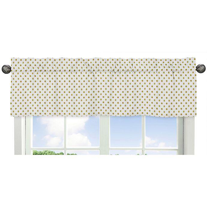 Alternate image 1 for Sweet Jojo Designs Amelia Polka Dot Window Valance in Gold/White