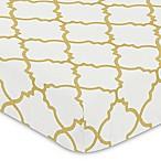 Sweet Jojo Designs Ava Trellis Fitted Crib Sheet in Gold/White