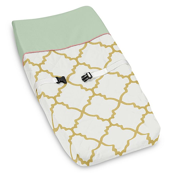 Alternate image 1 for Sweet Jojo Designs Ava Changing Pad Cover in Gold/Green