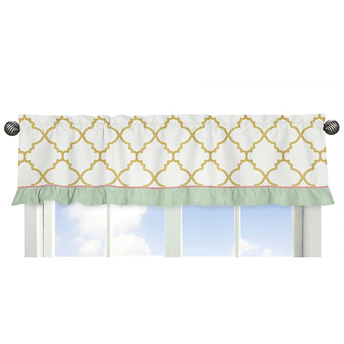 Alternate image 1 for Sweet Jojo Designs Ava 15-Inch Window Valance in Gold/White