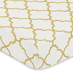 Sweet Jojo Designs Trellis Fitted Crib Sheet in Gold/White