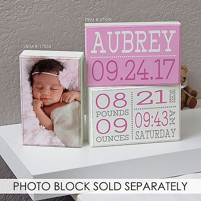 Alternate image 1 for Birth Announcement Shelf Blocks (Set of 2)