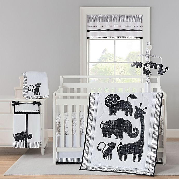 Alternate image 1 for New Country Home Laugh, Giggle & Smile Silhouette Jungle Crib Bedding Collection