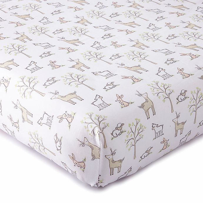 Alternate image 1 for LevtexBaby® Skylar Woodland Fitted Crib Sheet in Blush