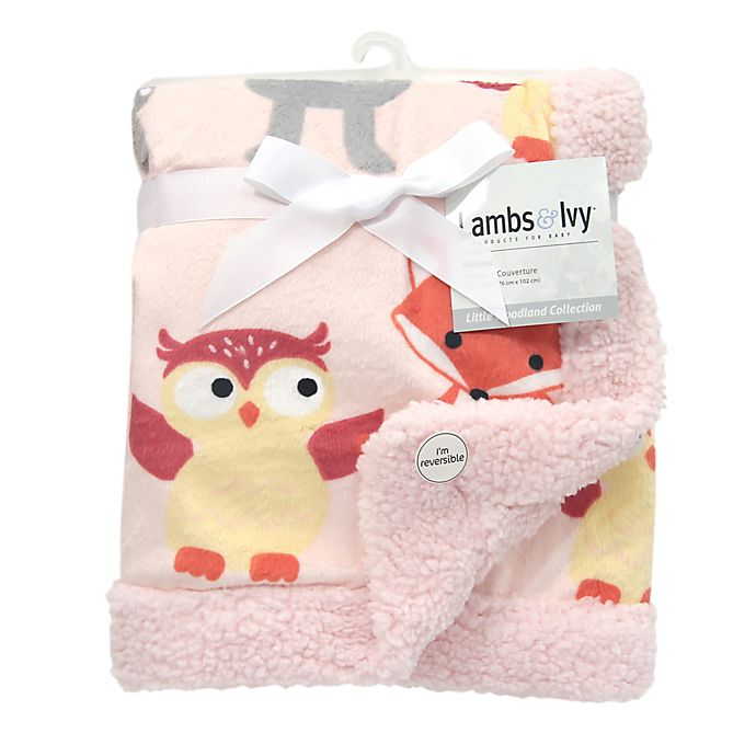 Alternate image 1 for Lambs & Ivy® Little Woodland Forest Reversible Plush Blanket