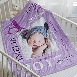 All About Baby Girl Personalized 30-Inch x 40-Inch Fleece Photo Baby Blanket