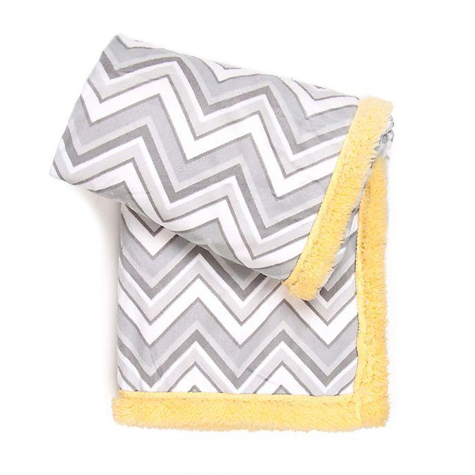 Alternate image 1 for Tadpoles™ Double Plush Chevron Baby Blanket in Grey