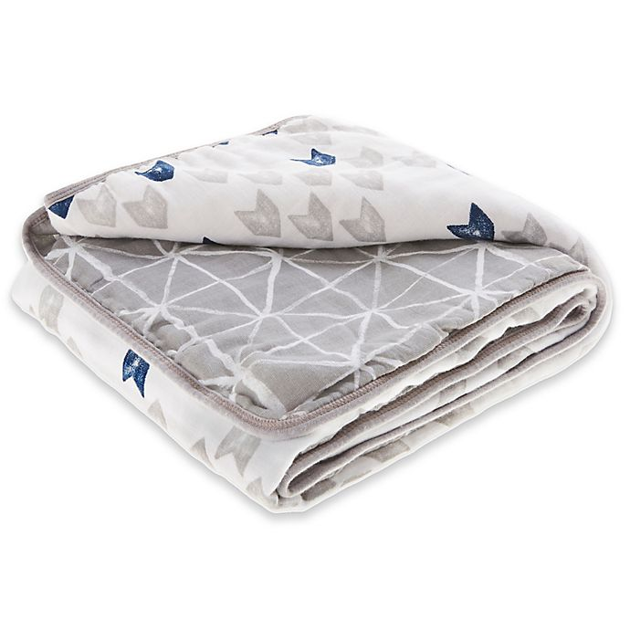 Alternate image 1 for aden + anais™ essentials Denim Wash Cotton Muslin Blanket in Blue