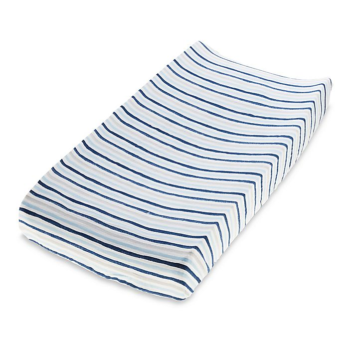 Alternate image 1 for aden + anais™ essentials Denim Wash Cotton Muslin Changing Pad Cover in Blue