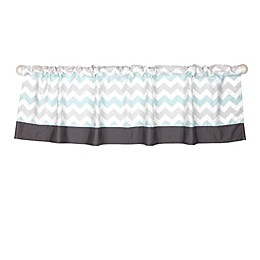 The Peanut Shell® Uptown Giraffe Window Valance in Grey/Aqua