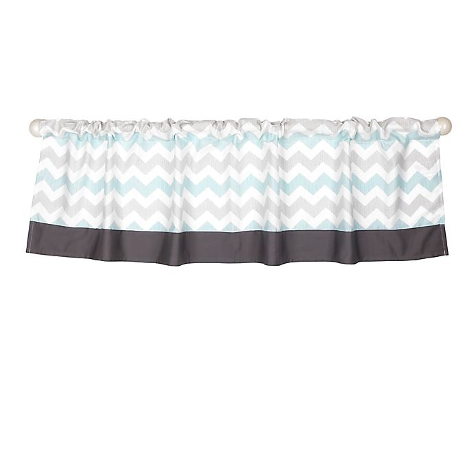 Alternate image 1 for The Peanut Shell® Uptown Giraffe Window Valance in Grey/Aqua