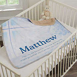 May You Be Blessed Christening Premium Sherpa Throw Blanket