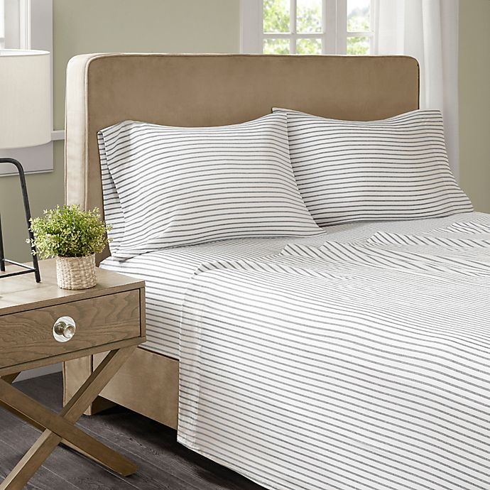 Alternate image 1 for Madison Park Essentials Chambray Stripe Full Sheet Set in Grey