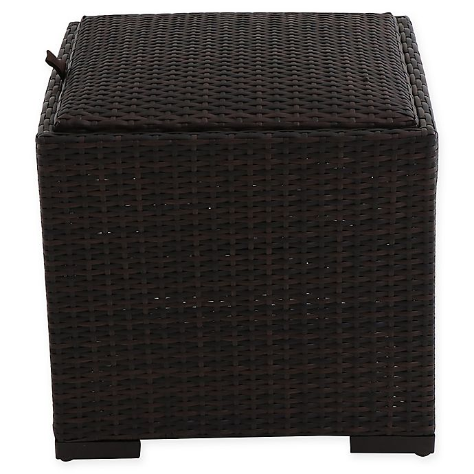 Buy Barrington Outdoor Wicker Padded Storage Ottoman From