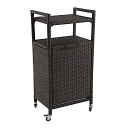 Barrington Outdoor Wicker Trash Valet in Brown
