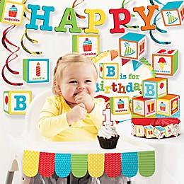 Creative Converting ABC Blocks 1st Birthday Party 10-Piece Decorations Kit