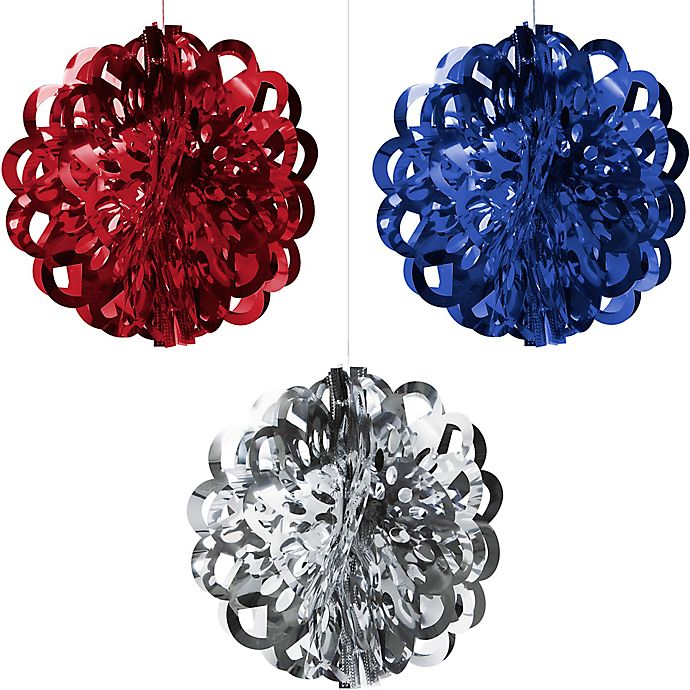 Alternate image 1 for Creative Converting 3-Piece Patriotic Foil Ball Decorating Kit