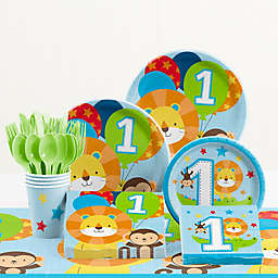 "Creative Converting™ 81-Piece ""One is Fun!"" Boy 1st Birthday Party Tableware Kit"