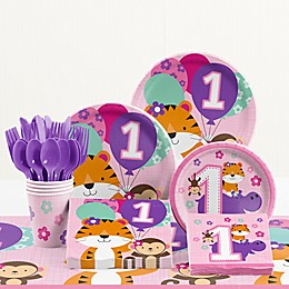 "Creative Converting™ 81-Piece ""One is Fun!"" Girl 1st Birthday Party Tableware Kit"