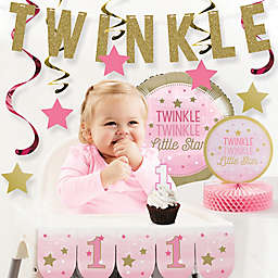 Creative Converting™ 10-Piece One Little Star Girl 1st Birthday Party Decor Kit