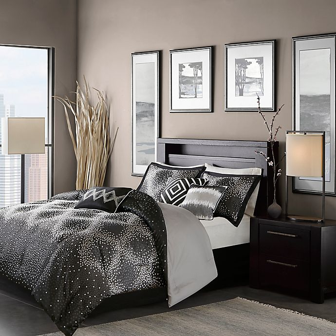 Alternate image 1 for Madison Park Quinn 7-Piece California King Comforter Set in Black