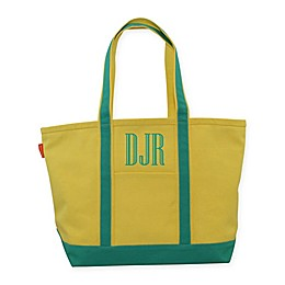 CB Station Medium Two-Tone Boat Tote with Initials in Yellow/Jade