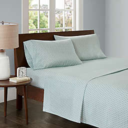 Madison Park 3M Microcell Printed California King Sheet Set in Aqua