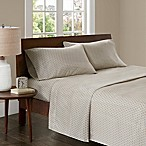 Madison Park 3M Microcell Printed Queen Sheet Set in Tan