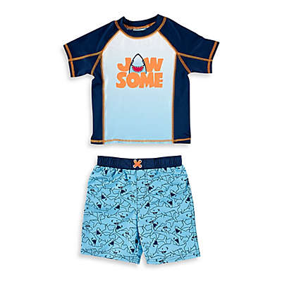 "Baby Buns 2-Piece ""Jaw-some"" Shark Rashguard Set in Blue"