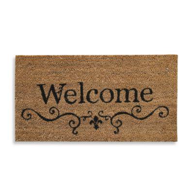 Welcome Fleur Di Lis 16 Inch X 28 Inch Coir Door Mat Bed