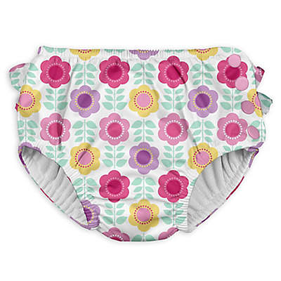 I Play. ® Daisy Ruffle Snap Swim Diaper in White