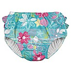 I Play. ® Size 18M Shell and Flower Ruffle Snap Swim Diaper in Aqua