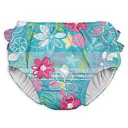 I Play. ® Shell and Flower Ruffle Snap Swim Diaper in Aqua