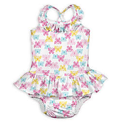 i play.® 1-Piece Butterfly Trellis Ruffle Swimsuit with Built-In Swim Diaper in White