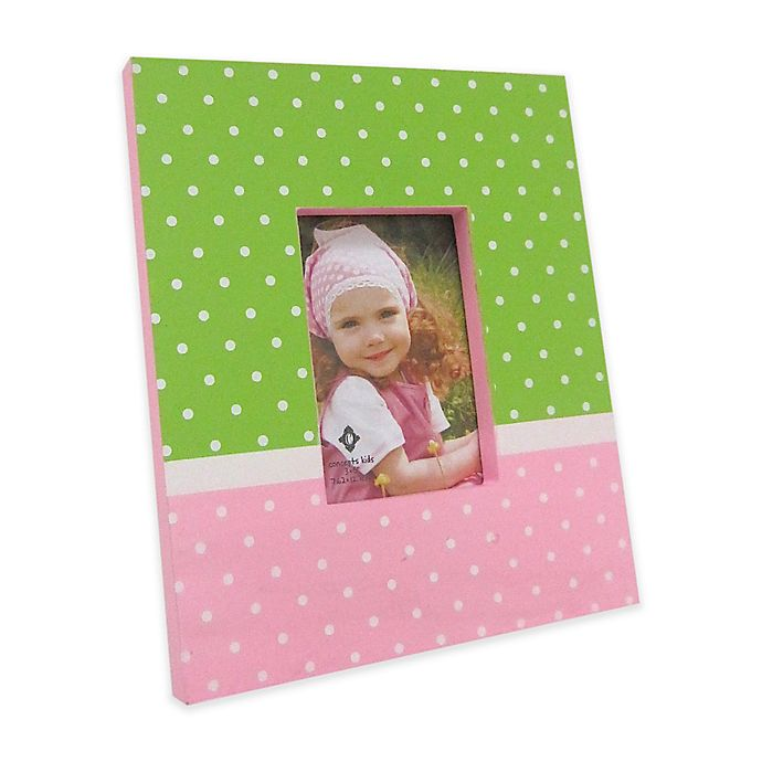 Alternate image 1 for Concepts in Time Polka Dot 5-Inch x 3-Inch Picture Frame in Pink/Green