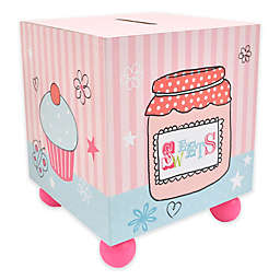 Concepts in Time Striped Cupcake Coin Bank in Pink