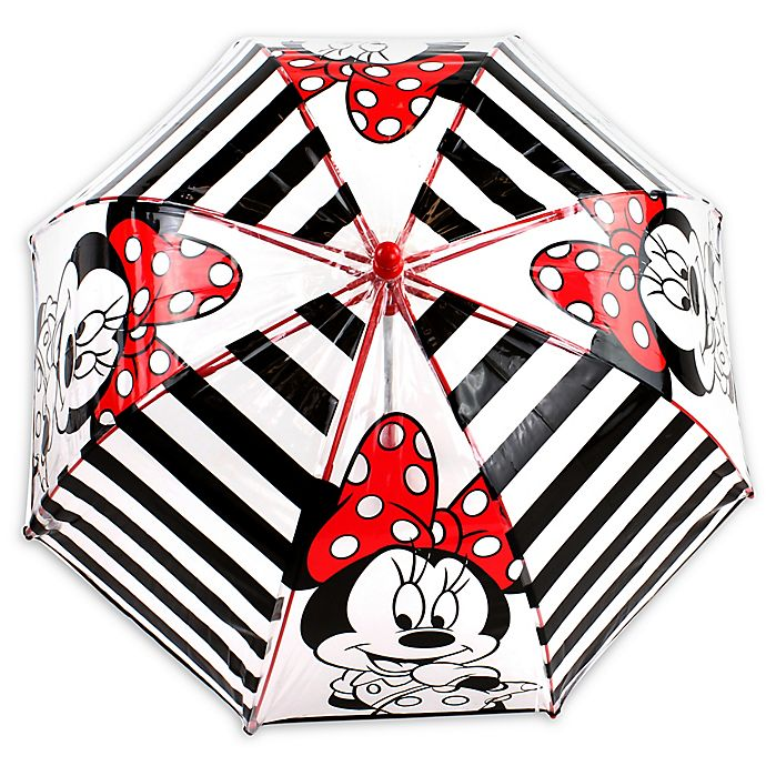 Alternate image 1 for Disney® Striped Minnie Umbrella in Black