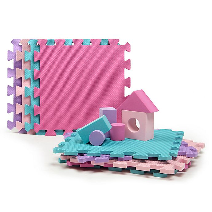 Alternate image 1 for Tadpoles™ 9-Piece Play Mat with Blocks in Pink/Purple