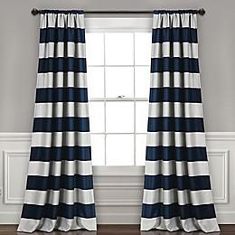 Stripe 2-Pack Rod Pocket Room Darkening Window Curtain Panels