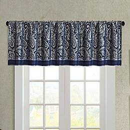 Madison Park Aubrey Jacquard Window Valance in Navy