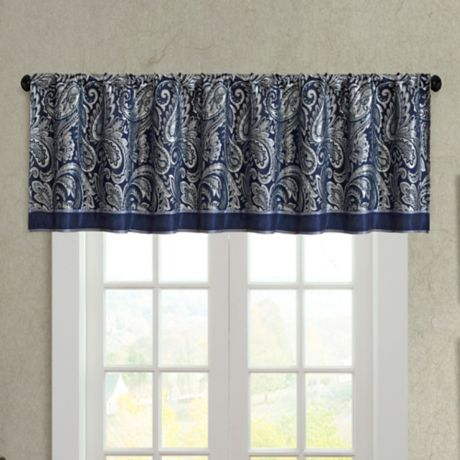 Madison Park Aubrey Jacquard Window Valance In Navy Bed