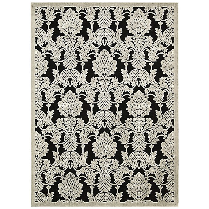 Alternate image 1 for Nourison Gil Damask 2-Foot 3-Inch x 3-Foto 9-Inch Accent Rug in Black