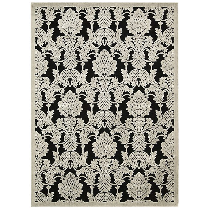 Alternate image 1 for Nourison Gil Damask 3-Foot 6-Inch x 5-Foot 6-Inch Area Rug in Black